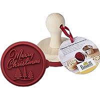 Birkmann Tampon à biscuits Joyeux Noël Ø 7 cm, bois, rouge/marron, 7 x 7 x 7 cm