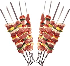 STAR-LINE 24 Grillspieße Schaschlikspieße aus Edelstahl 60cm | Fleischspieße für BBQ & Grill | Kebab Spieße | Schampura für Mangal