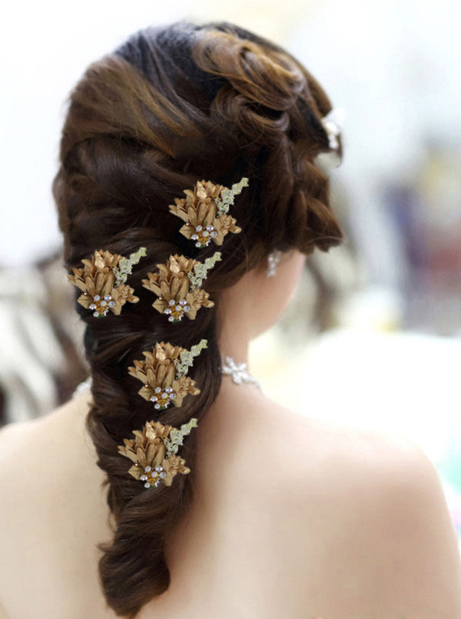 Kabello Hair Accessories Flowers Hair Juda Pins Juda Pins For Women And Girls Wedding And Party Wear Golden 5 Grams Pack Of 5