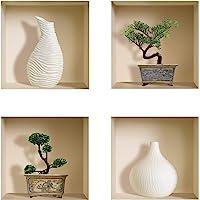 L'Nisha Art Magic vinyle 3D Autocollants mural amovible bricolage, Ensemble de 4, Vase blanc et bonsaï vert