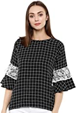 indietoga Women Black Check Print Bell Sleeve Top (XS to Plus Size 7XL)