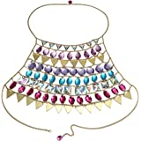 Young & Forever Trendsetter Gold Halter Faux Multicolor Crystal Tiered Sexy Body Chain Necklace for Women Statement Fancy Fas