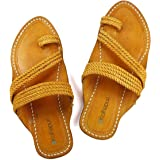 KALAPURI Mens Kolhapuri Chappal in Genuine Leather with Brown Pointed Shape Base and Traditional Broad Veni Upper. Handmade i