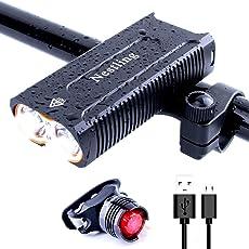 Nestling Wasserdicht 2 x Cree XML T6 LED Mountainbike Lichter MTB Road Fahrrad Radfahren Scheinwerfer Scheinwerfer Front Head Torch 2400 Lumen Build-in USB wiederaufladbare 18650 Batterie