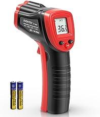 Laser Infrarot Thermometer, Eventek Pyrometer Temperaturmessgerät -50 bis +380°C, Berührungslos Thermometer Digital LCD Beleuchtung, schwarz/rot