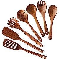 Haudang HHLzernes Lot de 7 ustensiles de cuisine en bois de teck naturel