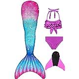 Decool Cola de Sirena Traje de Baño Sirena de Las Muchachas Bikini 4pcs Set, Princesa Cosplay Conjunto con Cola de Sirena Mon