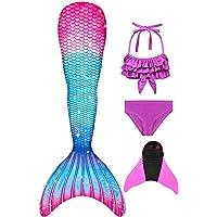 Filles Maillot de Bain Queue de Sirène avec Monopalme Bikini 4 Pièces Princesse pour Nager Cosplay Costume