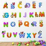 StickMe Baby Kids Learning Education Nursery Pre School Kinder Garden PVC Vinyl Alphabets Wall Sticker (Multicolour, 100 X 10