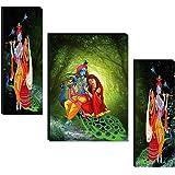 1ArtofCreation SANFJM30626 UV Textured MDF Krishna Radha with Love Painting (Multicolour, 12 Inch X 18 Inch ) - Set of 3