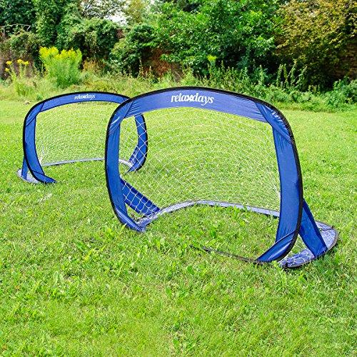 Relaxdays Fußballtor-Set selbstaufstellende Pop-Up Tore 2 Stück – Mini-Fußballtore mobil mit Tragetasche – 120 x 80 x 80 cm - 2