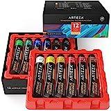 Arteza Acrylverf-set, 12 kleuren/tubes (22 ml, 21 gr), in opbergdoos, acryl-kleuren in diepe tinten, niet-vervagend, niet-gif