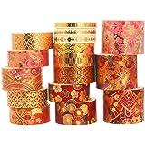 YUBX 15 Rouleaux Washi Tape Ruban Adhésif Papier Décoratif Masking Tape pour Scrapbooking Artisanat de Bricolage (Fierce Flow