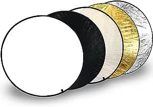 Com Four 5in1 Tragbarer Falt Reflektor Ø 110 Cm Runder Licht Reflektor In Weiß Schwarz Transparent Goldfarben Silberfarben Für Perfekte Foto Ausleuchtung 3 Teilig Garten