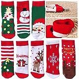 SPECOOL 4 Pares Calcetines Navideños para Niños, Calcetines de Invierno Cálidos y Bonitos Punto Algodón para Festivales Navid