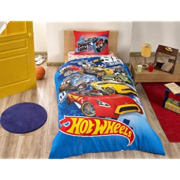 parure housse de couette 1 personne 160x220 cm hot wheels imprim e 100 coton 3 pi ces. Black Bedroom Furniture Sets. Home Design Ideas