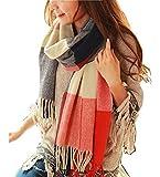 heekpek Winter Long Soft Warm Tartan Check Scarves Wraps for women Wool Spinning Tassel Shawl Long Stole