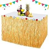 EXTSUD Party bord kjol, hawaiiansk stil bordkjol, Hawaiiansk tropisk bordskjol för hem picknick gifta fest födelsedag BBQ tro