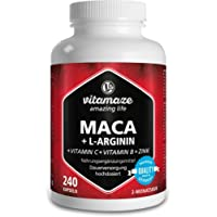 Vitamaze® Maca Gélules Fort Dosage 4000 mg + L-Arginine + Vitamines + Zinc, 240 Capsules Vegan de Maca Root Andine pour…