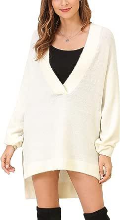 Woolen Bloom Maglione Donna Scollo a V Pullover Oversize Felpa Spalla a scesa Sweatshirt Orlo Alto Basso Autunno Inverno