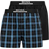 BOSS Mens 2P Boxer Shorts EW Two-Pack of Cotton Pyjama Shorts with Logo Waistband