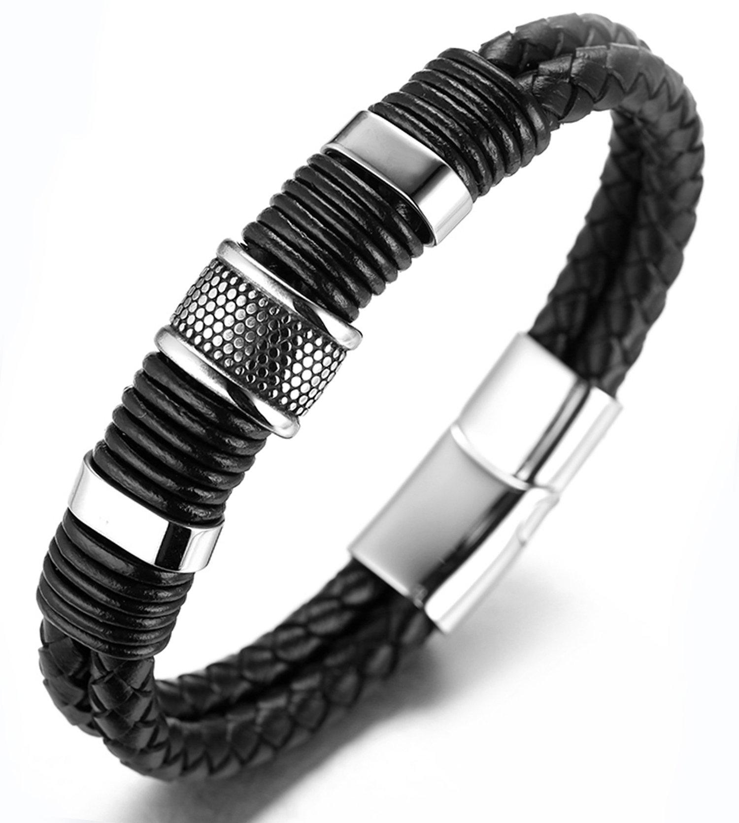 Halukakah ● Solo ● Men's Genuine Leather Titanium Bracelet Black & Silver 8.46″(21.5cm) with Free GIftbox
