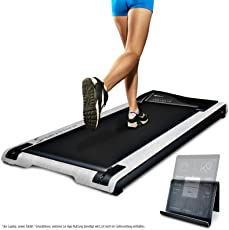 Sportstech DFT200 Laufband, flach und schick – inkl. App für Training überall. Fit und gesund zu Hause. Auch im Büro unter Schreibtisch, ergonomisch Arbeiten. Tablet-Halterung, Fernbedienung - Deskfit