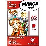 Clairefontaine 94041C Bloc Encollé Papier Manga et Illustration - 50 Feuilles Papier Dessin Blanc Extra Lisse A5 14,8x21 cm 1