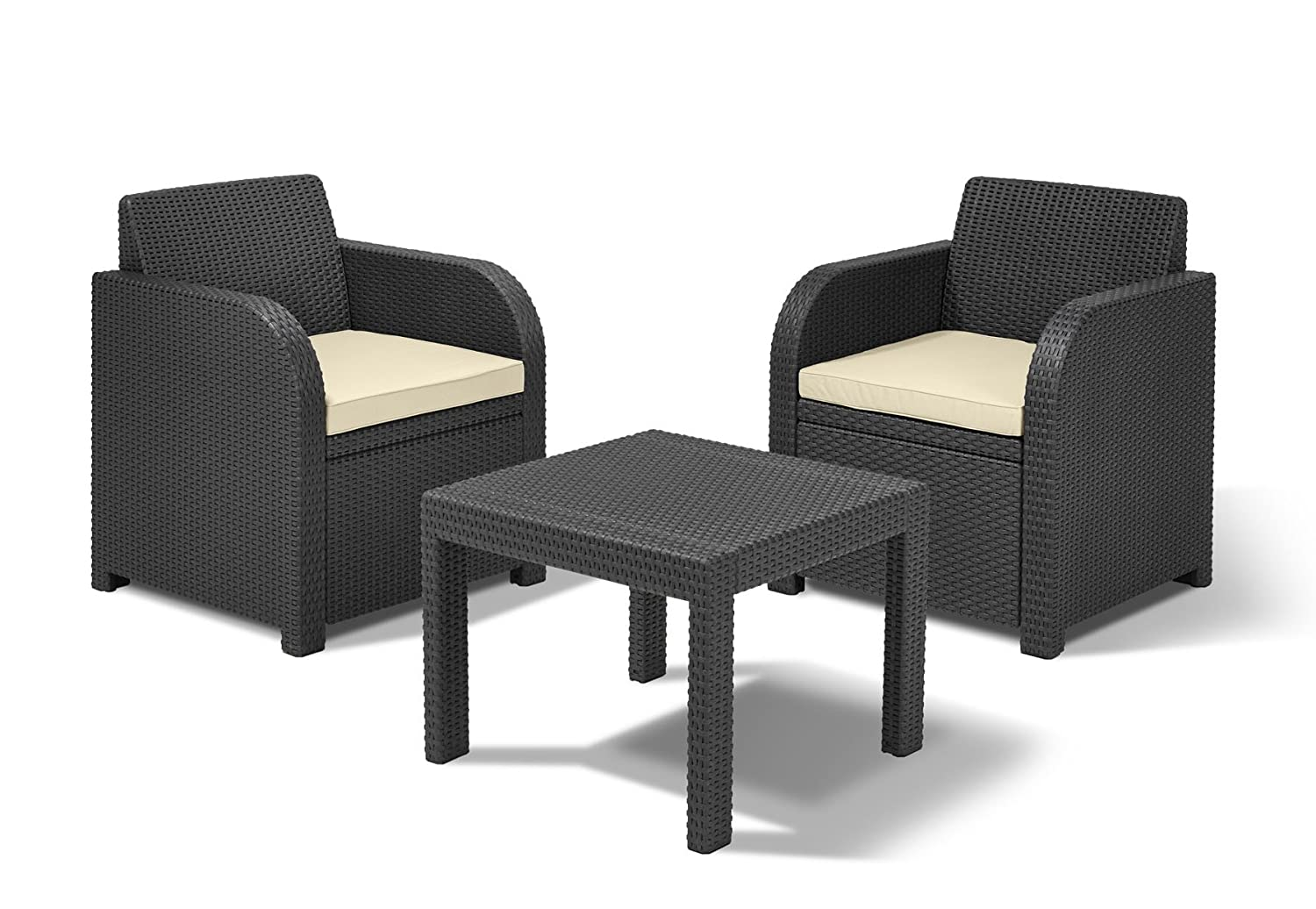 keter allibert atlanta 2 seater balcony bistro set with cushions grey amazoncouk garden u0026 outdoors