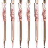6 قطع من أقلام حبر جاف بلون ذهبي وردي من ZZTX قلم رصاص سائل ديناميكي مع عبوات حبر أسود لوازم المكتب أقلام هدايا لعيد الميلاد