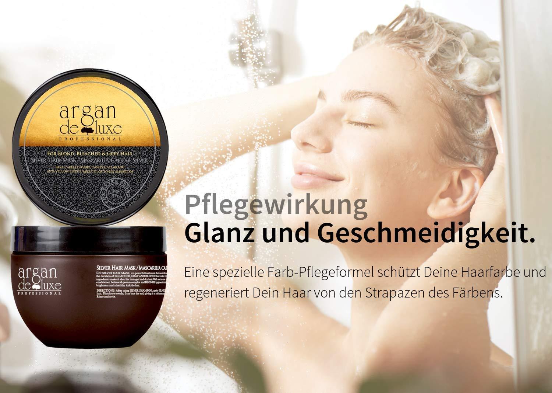 Mascarilla de plata Argan Deluxe de alto nivel, avalado para peluquerías 250 ml – tratamiento capilar para neutralizar…