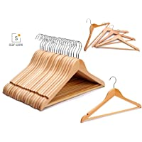 STAR WORK Wooden Coat Hangers - (20 Pack Beige) Heavy Duty Space Saving Clothes Hangers with Nonslip Trouser Bar, Made of Solid Lotos Wood with Extra Smooth Finish Holds, for Heavy Garment
