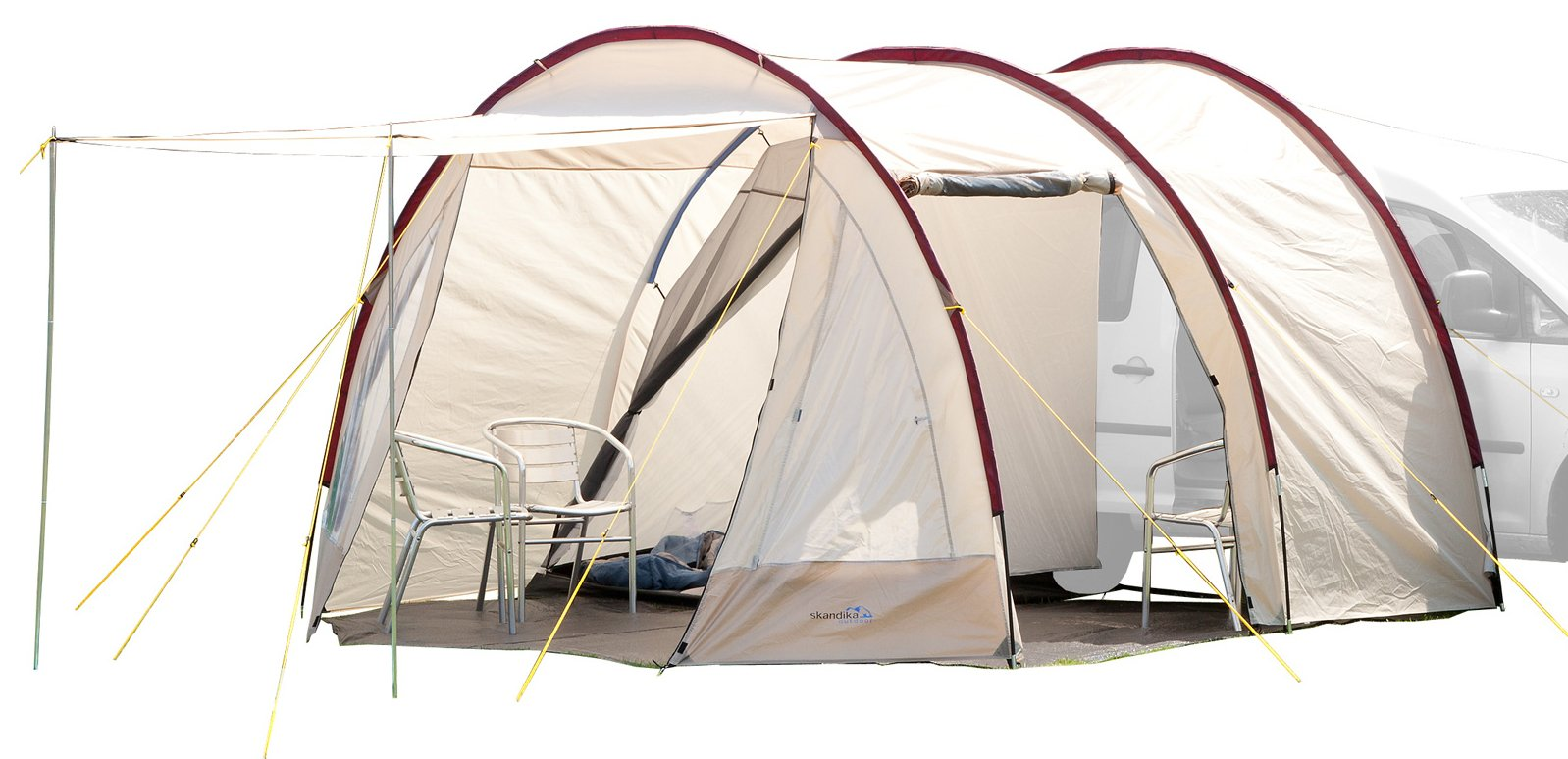 Skandika Camper Tramp Free-Standing Minivan Awning Tent with 2-Berth Sleeping Cabin and 210 cm Peak Height, Sand/Red, 2 Persons 1