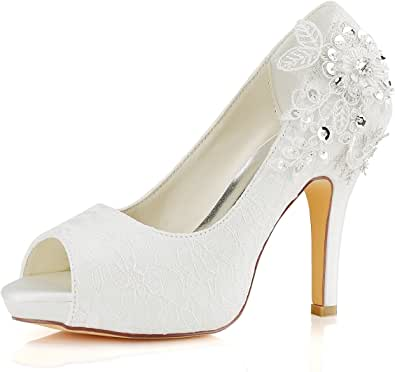 Emily Bridal Scarpe da Sposa Scarpe da Sposa in Pizzo Scarpe da Sposa con Tacco Alto in Pizzo e Avorio in Pizzo