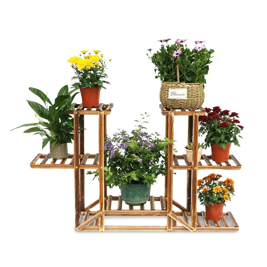 6 tier wooden plant pot stand garden planter flower display rack holder outdoor