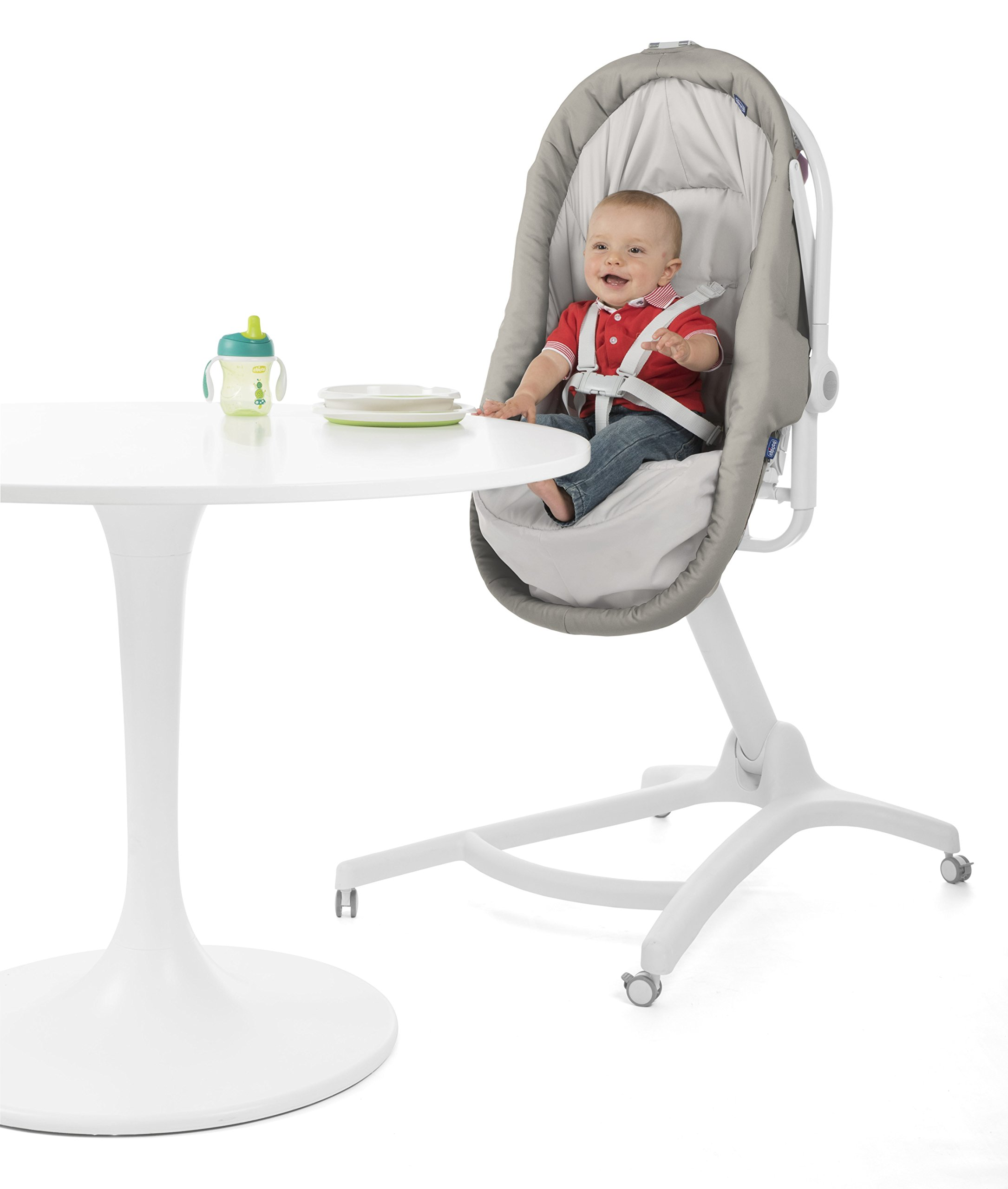 Chicco Baby Hug 4 in 1, Legend  It covers all your and your baby's needs: it is a comfy crib, a recliner from birth, a convenient highchair and finally your child's first chair from 6 months. Adjustable heights and backrest and 4 wheels Removable reducer to make the recliner suitable from birth 4