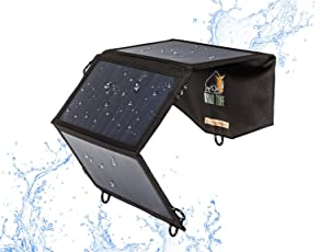 Ryno Tuff Foldable Solar Charger For Phones, Battery Packs and Tablets 21W - Portable, Durable and Waterproof, Highest Converting Panels (22%-25%) For 5V Devices iPhone/iPad/Galaxy/Note/Tab/Nexus etc.