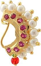 9blings Maharashtrian Style Multicolour Enamel CZ Pearl Studded Gold Plated Nose Ring for Women