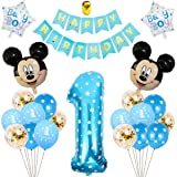Decoraciones de Cumpleaños de Mickey, BESTZY 1er Cumpleaños Bebe Azul Globos Decoraciones de Fiesta Temática Azul de Mickey G