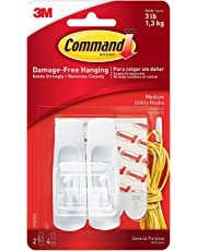 Command Medium Plastic Utility Hook (White,2 hooks and  4 strips), Damage-Free Hanging, Holds Strongly