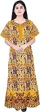 Mudrika Pure Cotton Women/Girls Nightwear Gown Multicolour Nighty (Free Size)