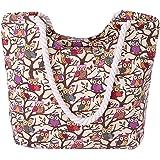 AiSi Canvas Strandtasche Schultertasche Umhängetasche Shopper Einkaufstasche, mit Reißverschluss, Eule Muster blau pink schwa