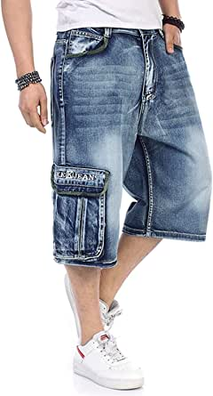 2 Pcs Men's Jeans Shorts Cargo Denim Shorts Relaxed Fit Big and Tall Loose Casual Plus Size 30W-46W