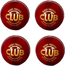 N K Sports Club 4 Piece Red Leather Ball for Match,Practice,Tournament (Pack of 4)