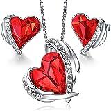CDE Conjuntos de Joyas para Mujer Collar con Colgante de corazón de Amor y Pendientes Joyas de cumpleaños Regalos para Esposa