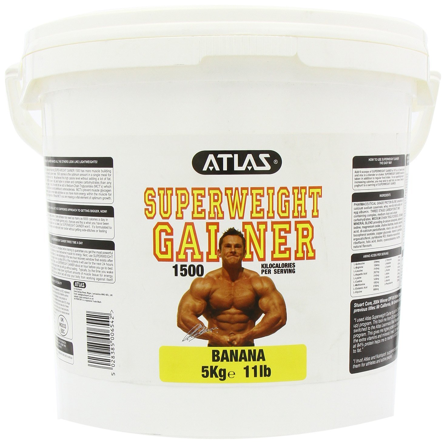 71iW8p7Kf1L - Atlas Super Weight Gainer 5kg is lower in fat, and higher in protein and complex carbohydrate than any other leading…