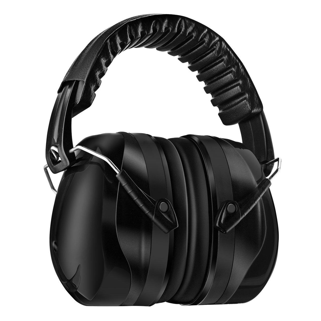 Homitt Ohrenschützer/ Gehörschutz mit verstellbar Kopfbügel für Erwachsene und Kinder inkl. Tragetasche, Anti-noise Kapselgehörschutz, Sicherheit Ear Muffs Headband Ohrenschutz, Anti-lärm bis SNR 34dB, geeignet für Bau, Schießen und Jagd, schwarz