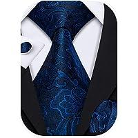 Barry.Wang Cravatte Uomo Seta Paisley floreale Fazzoletto e Gemelli per Festa di Matrimonio