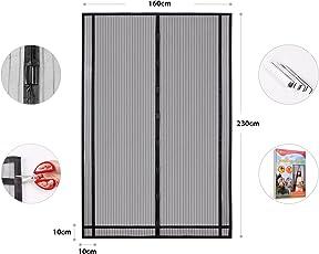 Sekey - Tendina magnetica per zanzariera, ideale per porte da balcone, cantine, terrazze (ritagliabile in altezza e larghezza), facile da montare, 230 x 160 cm, colore: Nero