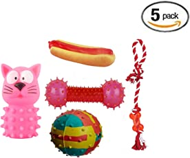 Pet Needs Combo of 5 Natural Rubber Rope Toys for Small Puppy